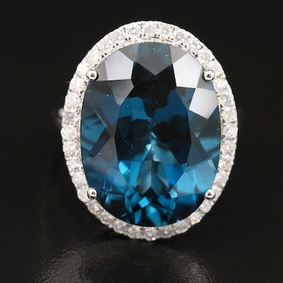 14K 23.87 CT London Blue Topaz and Diamond Halo Ring