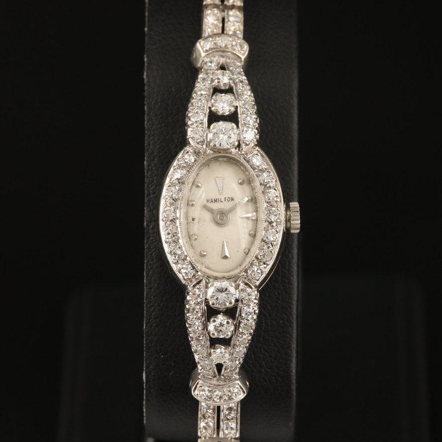 14K Gold 1.68 CTW Diamond Hamilton Wristwatch
