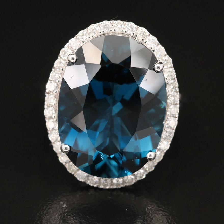 14K 20.77 CT London Blue Topaz and Diamond Ring