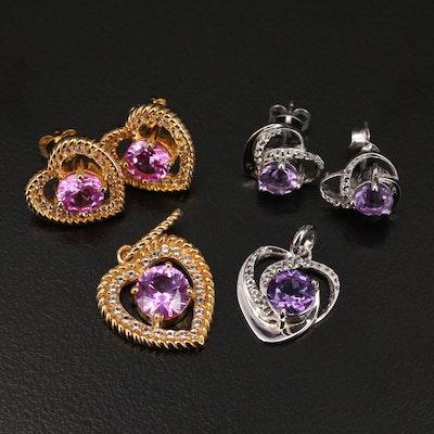 Sterling Gemstone Heart Earrings and Pendant Sets