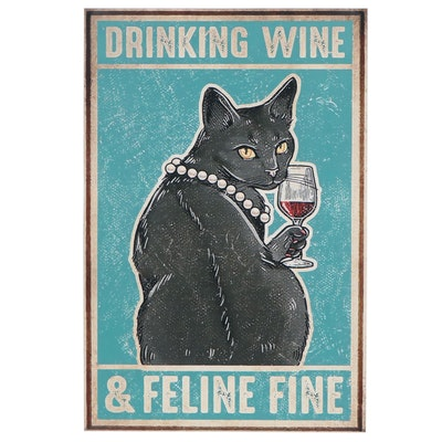 """Giclée Poster of Black Cat """"Drinking Wine and Feline Fine"""""""
