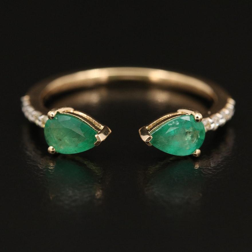 18K Emerald and Diamond Split Shank Ring