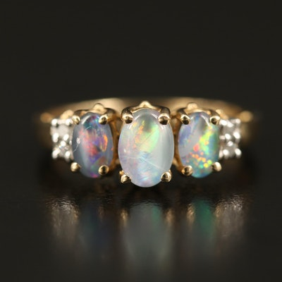 10K Opal Triplet and Diamond Ring