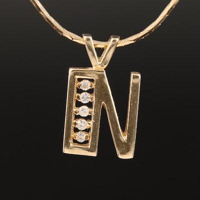 "Italian 14K Diamond ""N"" Pendant Necklace"