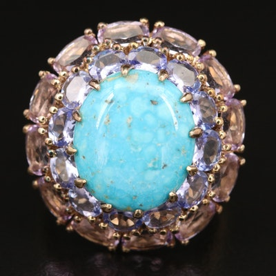 Sterling Silver Turquoise, Tanzanite and Amethyst Ring