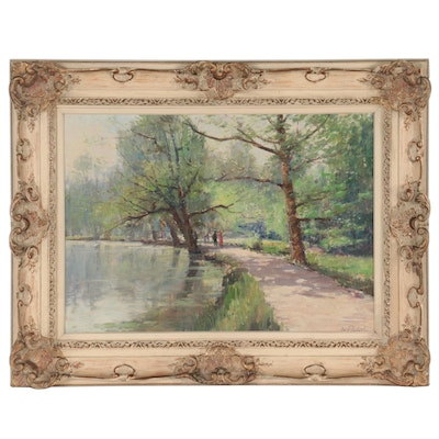 Impressionist Style Landscape Oil Painting of Park Scene