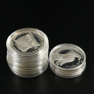 Seven Modern Commemorative Silver Dollars
