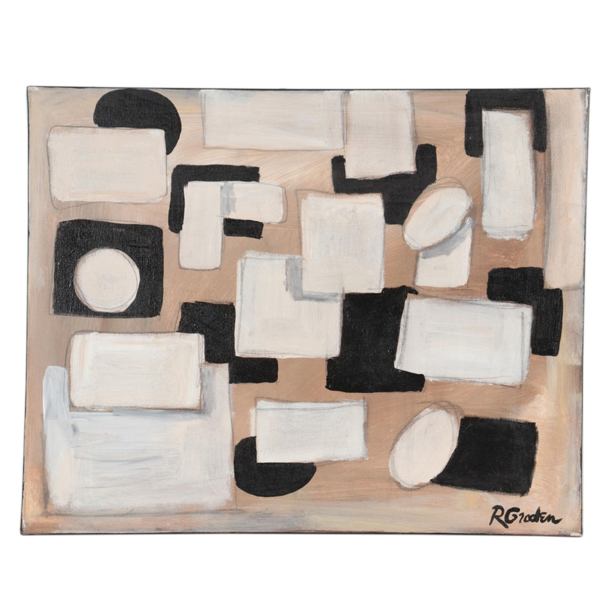 "Randy Groden Abstract Mixed Media Painting ""Trasimeno,"" 21st Century"