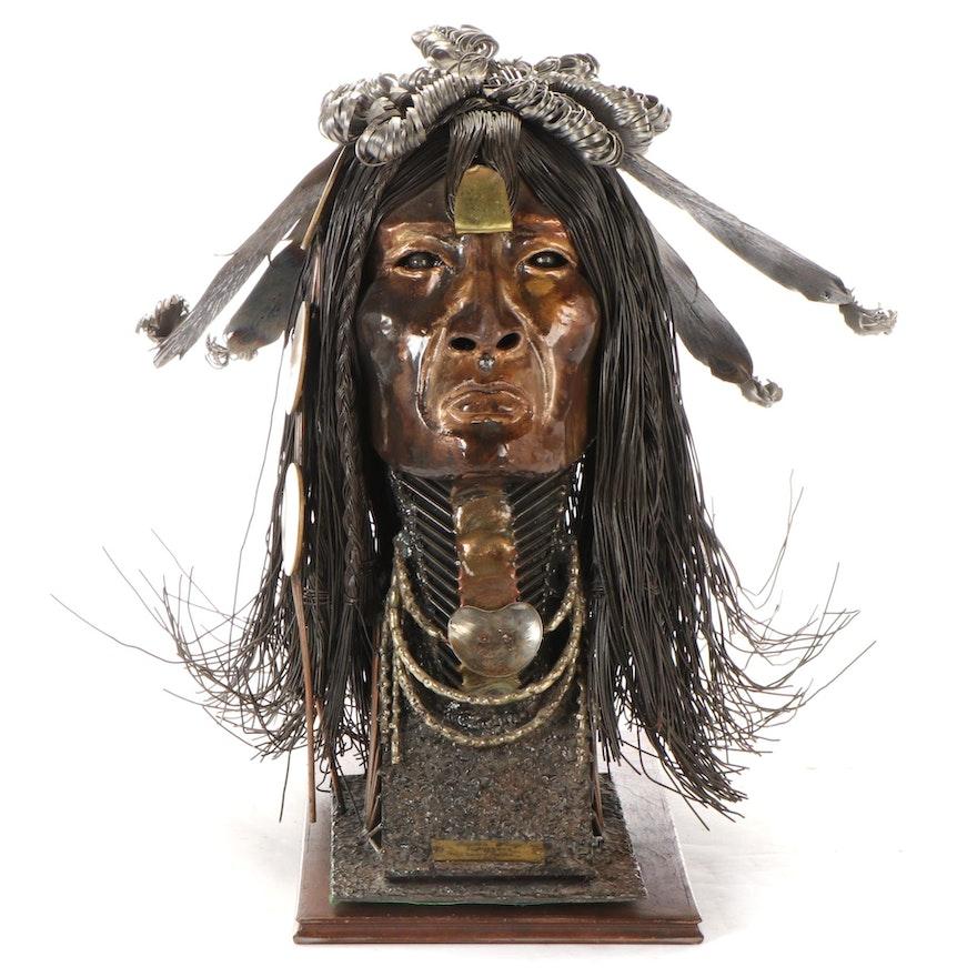 "John F. Prazen Mixed Metalwork Sculpture ""Eagle's Wing,"" 1979"