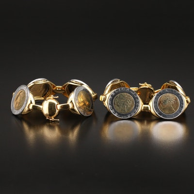 Milor Italian Bronze Bracelets with 500 Lire Bi-Metal Coins