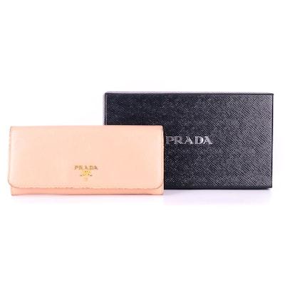 Prada Continental Flap Wallet in Orchidea Saffiano Leather