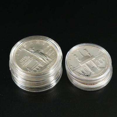 Five Modern Commemorative Silver Dollars
