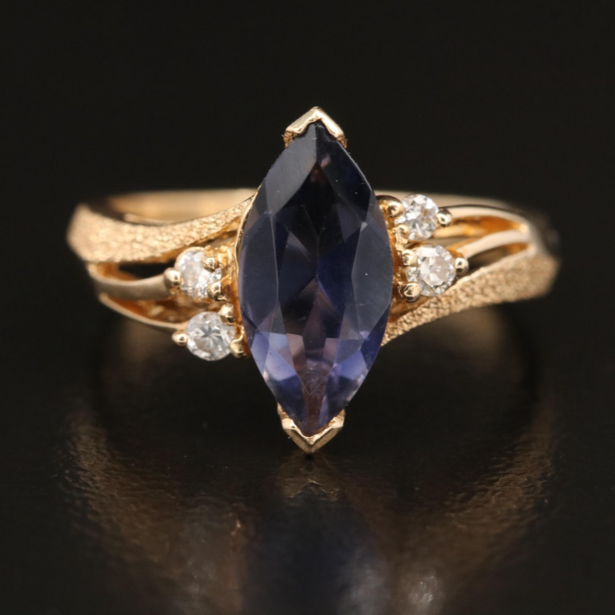 14K Faceted Blue Glass and Diamond Ring