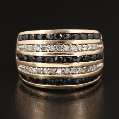 10K Multi-Row Diamond and Sapphire Tapered Band