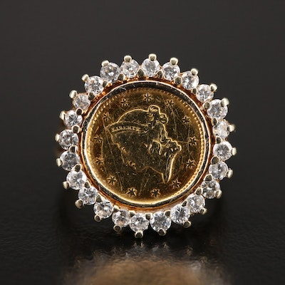 14K Diamond Ring Holding a Liberty Head Gold $1 Coin Ring