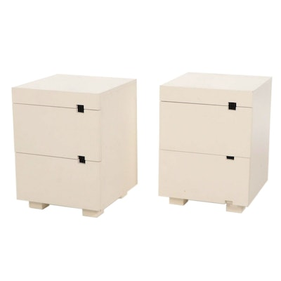 Contemporary White Lacquered Wood Nightstands
