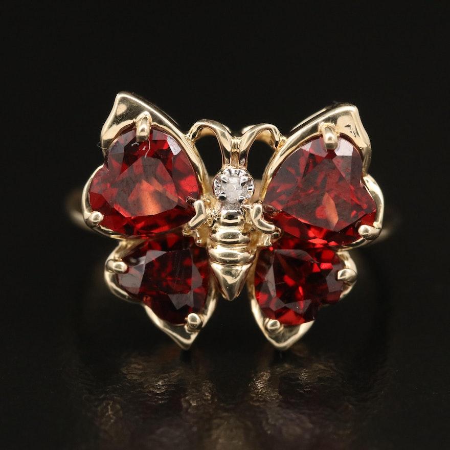 14K Garnet and Diamond Butterfly Ring