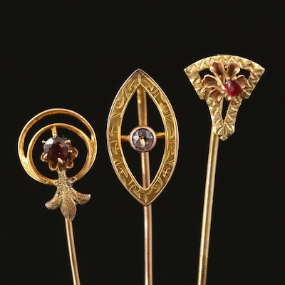 Antique 10K Stick Pins with Garnet Glass Doublet and Amethyst