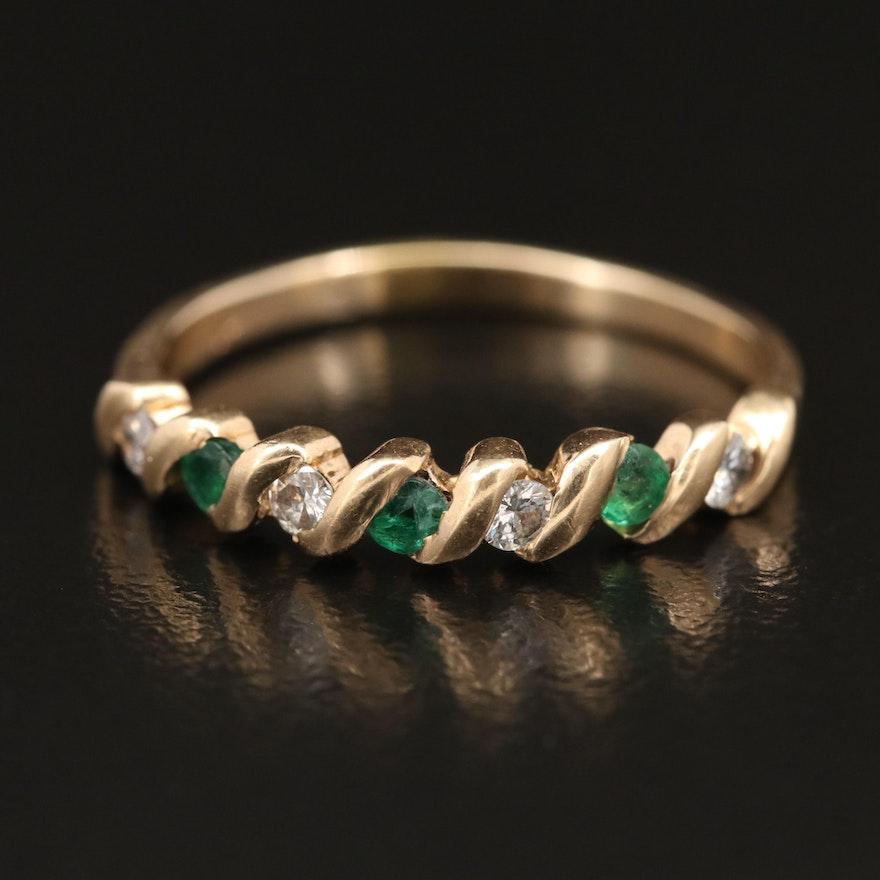 14K Diamond and Emerald Ring