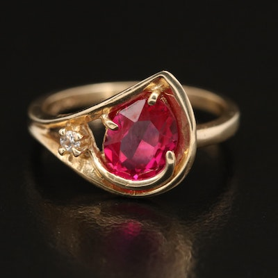 14K Ruby and White Spinel Ring