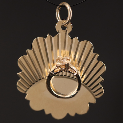 14K Pendant with Mounted Ring