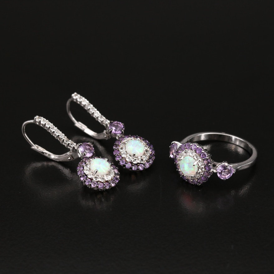 Sterling Opal and Gemstone Drop Earring and Ring Set