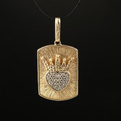 14K Diamond Heart and Crown Tag Pendant