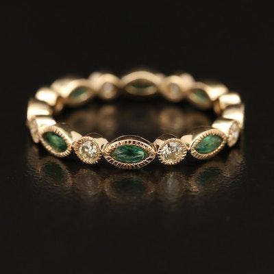 18K Emerald and Diamond Eternity Band