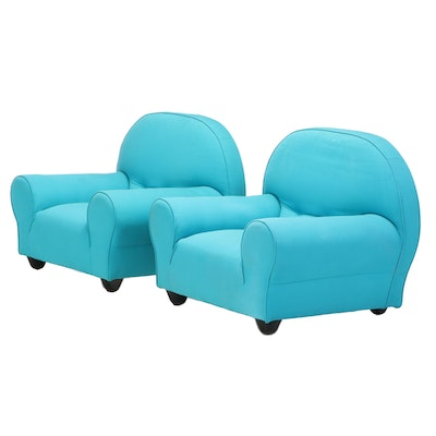 Pair of Ligne Roset Modernist Style Upholstered Roll-Arm Club Chairs