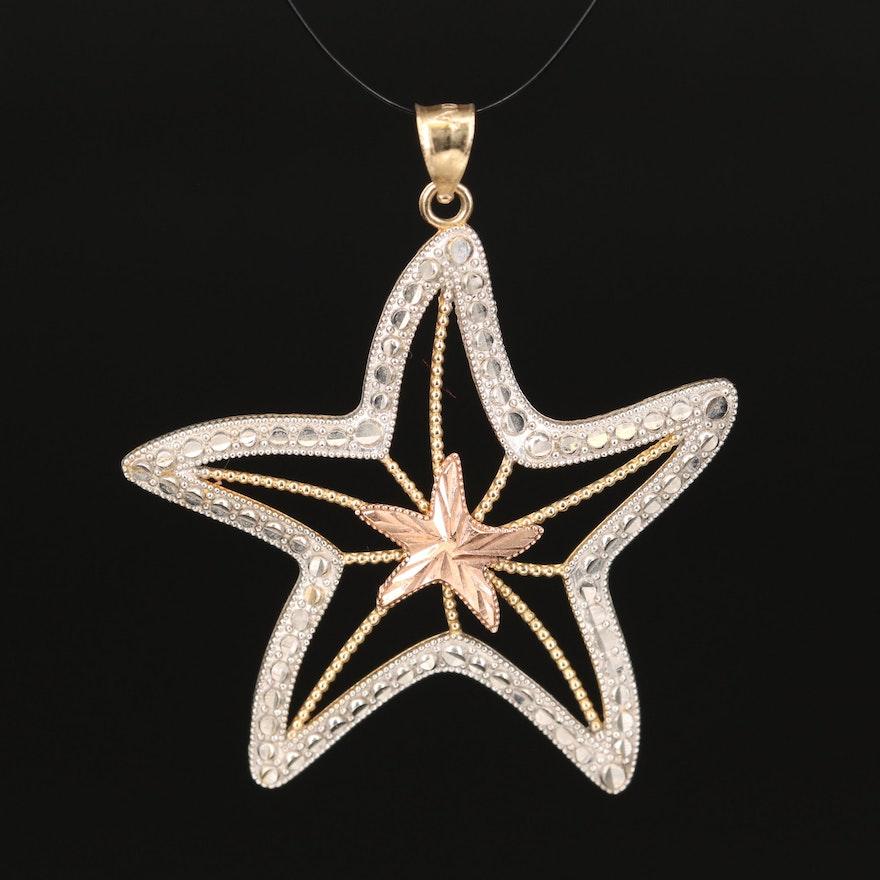 10K Tri-Color Starfish Pendant with Diamond Cut Pattern