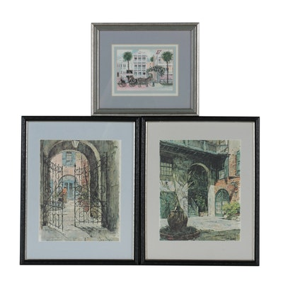 Offset Lithographs of Street Scenes, Late 20th Century
