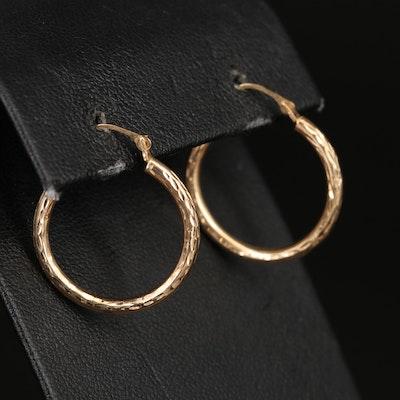 14K Diamond Hoop Earrings with Diamond Cut Pattern