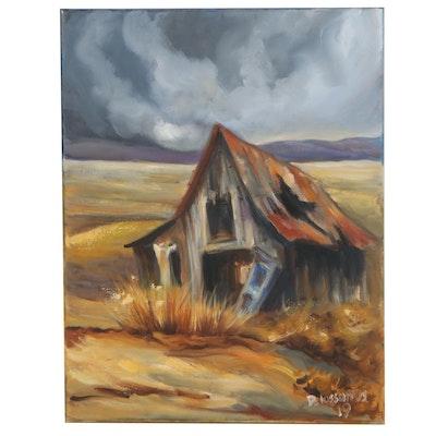 Kristina Delossantos Oil Painting of Abandoned Farmhouse, 2019