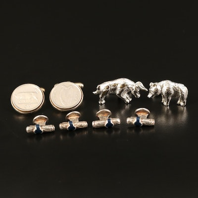 Sterling Cufflinks Including Bull and Bear, Cigars and 1993 Irish Pence Coins