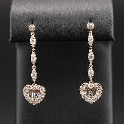 14K 2.05 CT Diamond Heart Drop Earrings