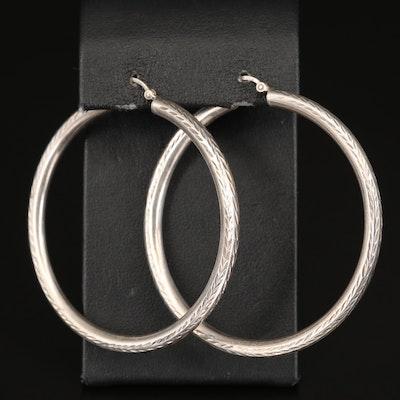 Sterling Silver Hoop Earrings with Diamond Cut Pattern