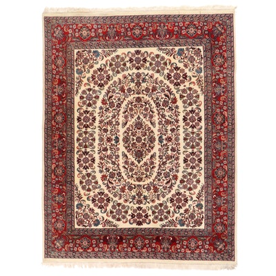 7'9 x 10'7 Hand-Knotted Indian Agra Floral Area Rug
