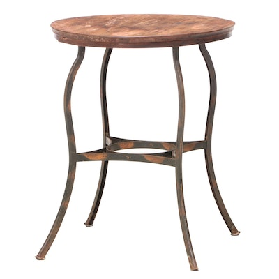 Industrial Style Birch and Steel End Table, Mid-20th Century
