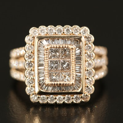 14K 1.84 CTW Diamond Ring with Scallop Detail