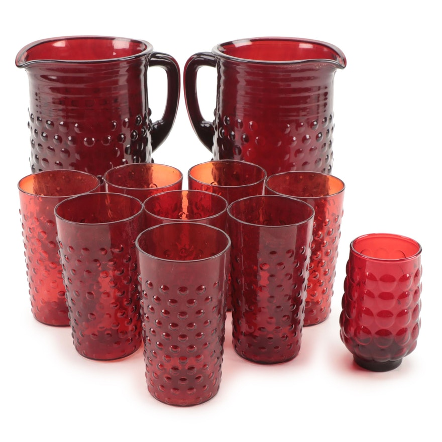 """Fenton """"Hobnail"""" Ruby Glass Pitchers and Tumblers, Mid to Late 20th Century"""