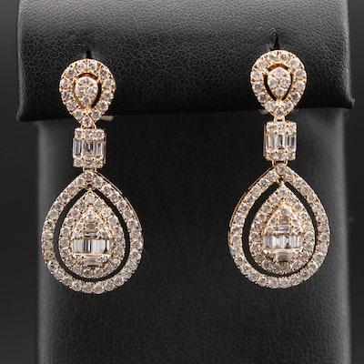 14K 2.98 CTW Diamond Drop Earrings