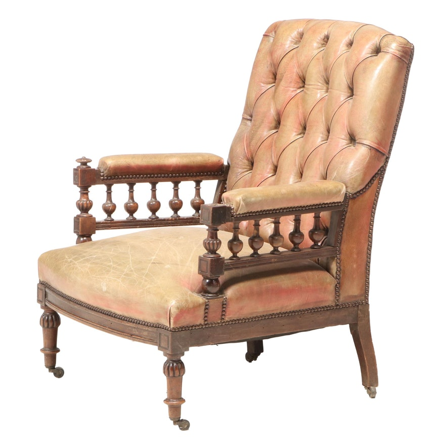 Victorian Mahogany, Buttoned-Down, and Brass-Tacked Leather Library Armchair
