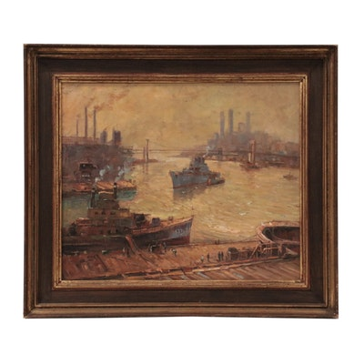 Industrial Cityscape Oil Painting of a Dock