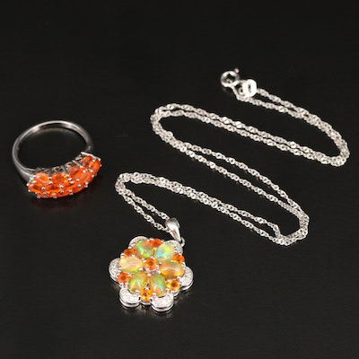 Sterling Silver Ring and Necklace Featuring Diamond, Fire Opal and Opal