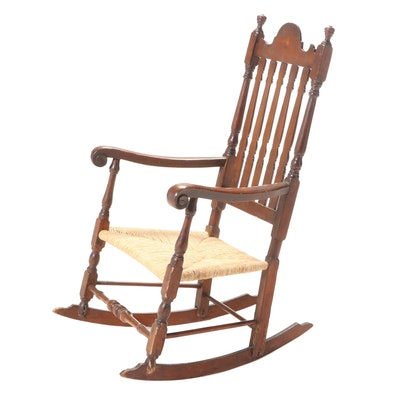 New England Banister-Back Rocking Armchair, 18th Century and Adapted