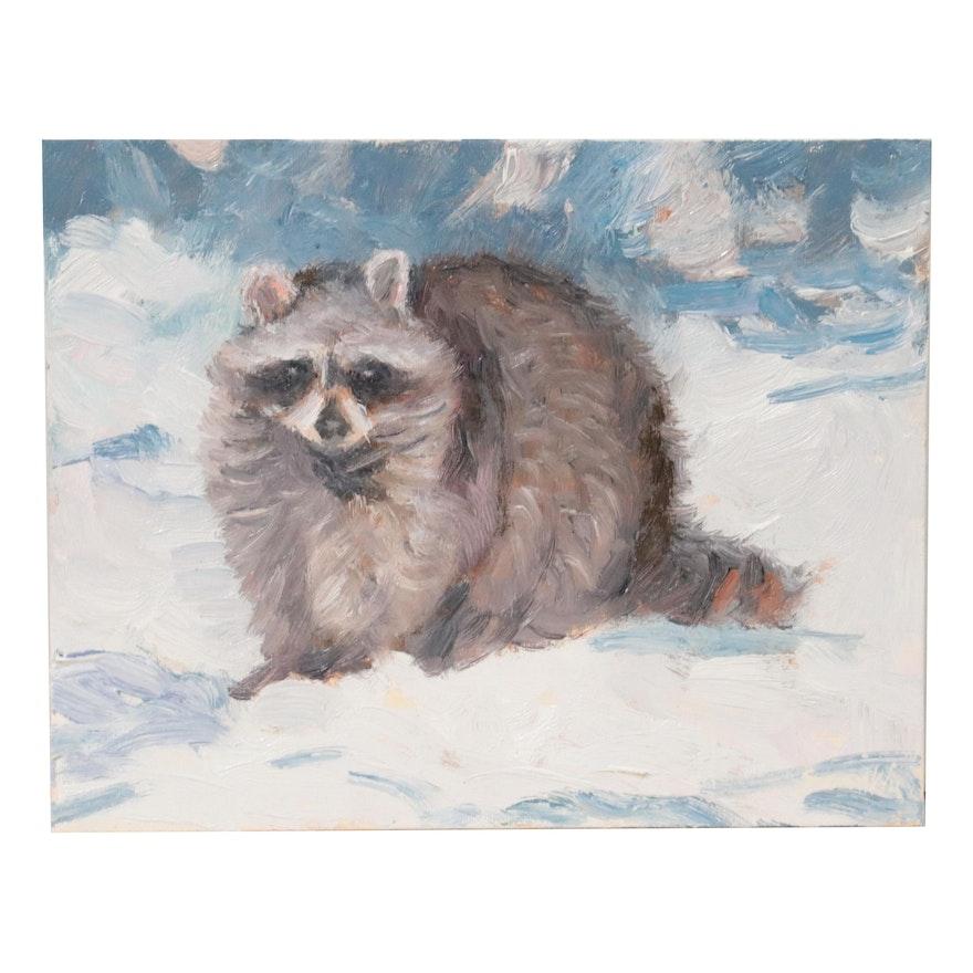 Sean Wu Oil Painting of Raccoon, 2021