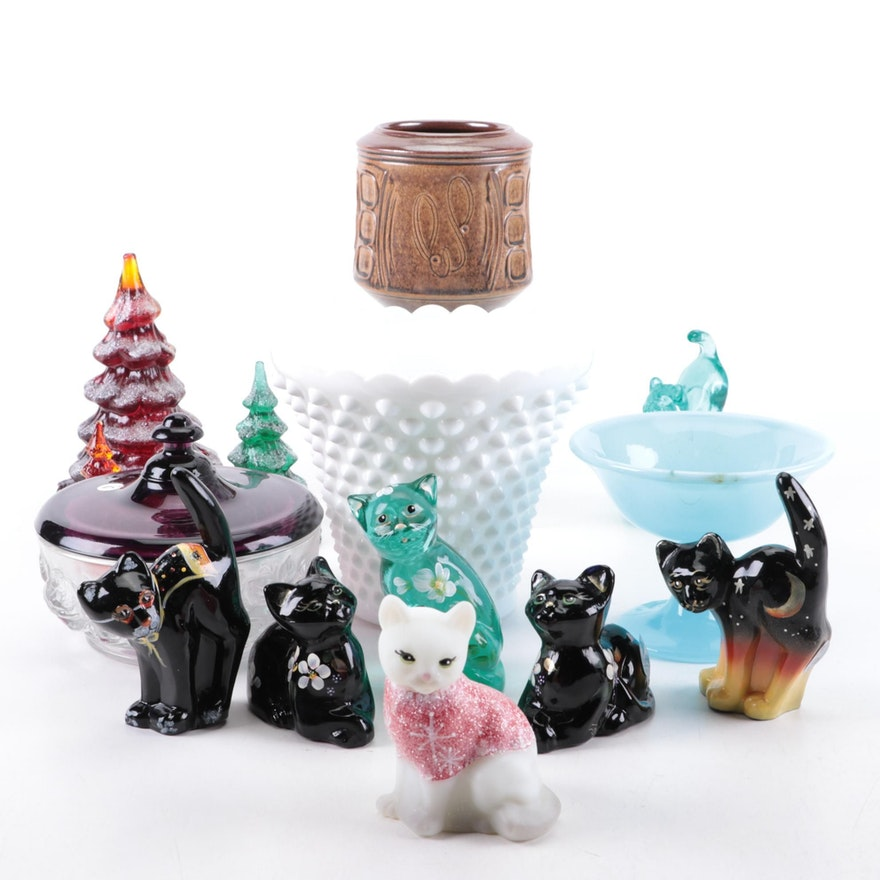 """Fenton """"Fluer, the Little Black Cat"""" Figurines with Other Table Accessories"""
