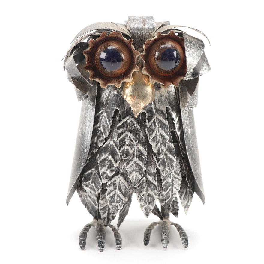 Folk Art Style Salvaged Metal Owl, Late 20th Century