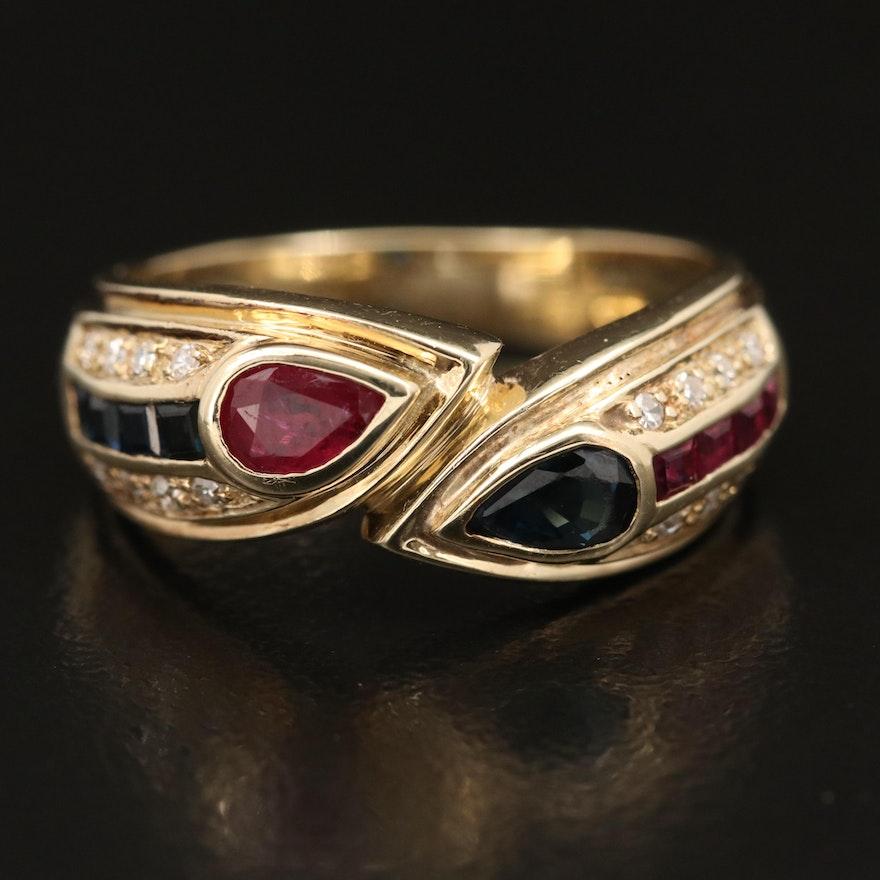 14K Ruby, Sapphire and Diamond Ring