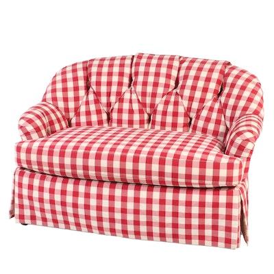 Sherrill Furniture Buttoned-Down Gingham Loveseat